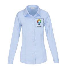 Russell™ långärmad fiskbensmönstrad poplinskjorta i dammodell
