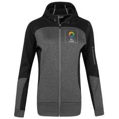 Chaqueta con capucha Tech de tela polar en bloques de color y cierre completo para dama de Sport-Tek®