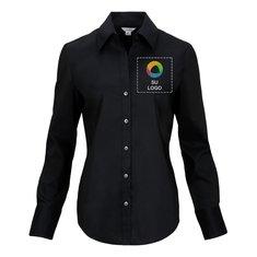 Blusa Calvin Klein® de manga larga y tela stretch de algodón para dama