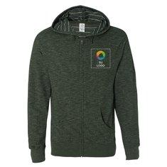 Suéter con capucha Independent Trading Co. Baja Stripe de terry francés y cremallera completa