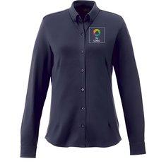 Camisa de piqué de manga larga Bigelow de Elevate™ para mujer