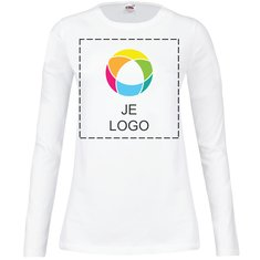 Fruit of the Loom® Lady-Fit T-shirt met Ronde Kraag en Lange Mouw