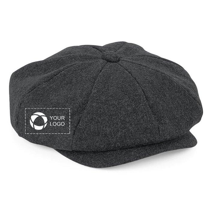 Beechfield Melton Wool Baker Boy Cap with Single-Colour Print