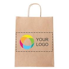 Mellemstor papirpose med multifarvet tryk