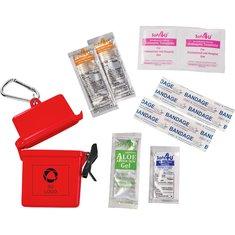 Kit de primeros auxilios Bullet™ impermeable de 8 piezas con desinfectante para manos
