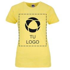 Camiseta entallada de 100% algodón hilado en anillo para estampado monocolor de Russell™ para mujer