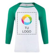 Camiseta de béisbol unisex con mangas tres cuartos tipo raglán de Bella + Canvas®