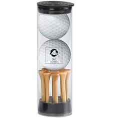 Tubo con 2 pelotas de golf y tees