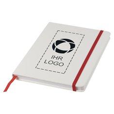 Weißes A5-Notizbuch Spectrum von Bullet™ mit farbigem Band