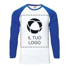 Maglia baseball a maniche lunghe con stampa monocolore da uomo Fruit of the Loom®