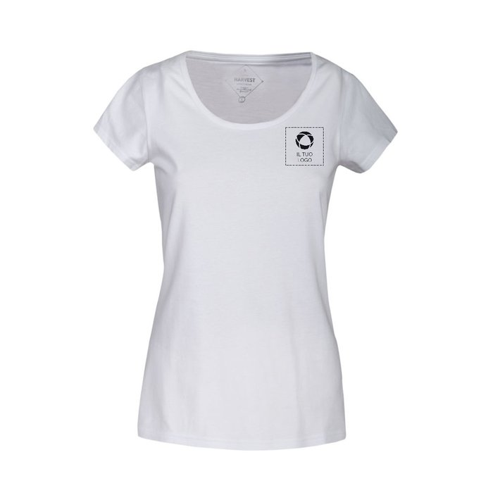 Maglietta in tessuto biologico con scollo rotondo da donna Twoville Harvest con stampa monocolore