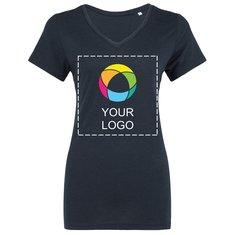 T-shirt femme col en V trois matières de B&C™