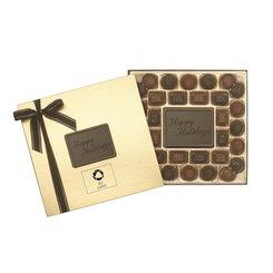 """Caja de obsequio mediana """"Happy Holidays"""" de delicias de chocolate, 32 unidades - Paquete de 12 cajas"""