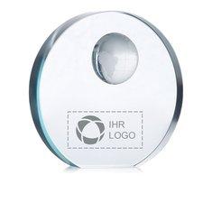 Glastrophäe Mondal mit Lasergravur
