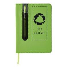 Libreta estándar de tapa dura de poliuretano y tamaño A5 con bolígrafo con puntero para pantallas