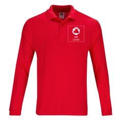 Premium-Polohemd von Fruit of the Loom®, Langarm mit einfarbigem Druck