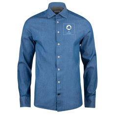 J. Harvest & Frost Indigo Bow 130 shirt met strakke pasvorm en drukwerk in 1 kleur