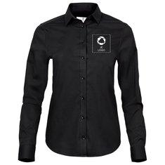 Tee Jays® luxe damesstretchshirt van popeline met lange mouwen en drukwerk in 1 kleur