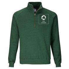 Fruit of the Loom® Premium sweatshirt med dragkedja i halsen och enfärgat tryck