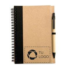 Libreta de papel reciclado con bolígrafo Sonora Plus