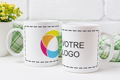 Tasse White imprimée en couleur sur tout le tour