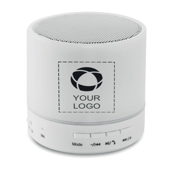 Round White Bluetooth LED Speaker