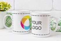 Weisse Tasse mit Vollfarb-Rundumdruck