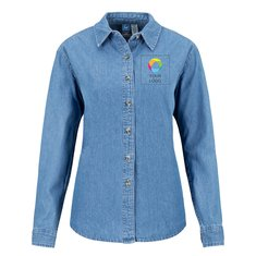 Port & Company® Ladies Long Sleeve Value Denim Shirt