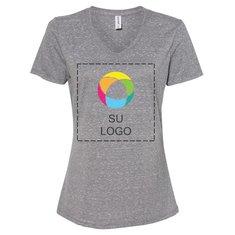 Camiseta Snow con cuello en V de tejido jersey jaspeado de JERZEES®