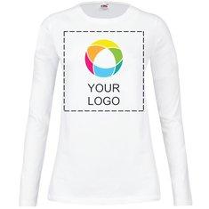 Fruit of the Loom® Lady-Fit T-shirt met Ronde Kraag en Lange Mouw