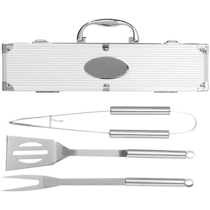 Juego de 3 utensilios para barbacoa grabado con láser