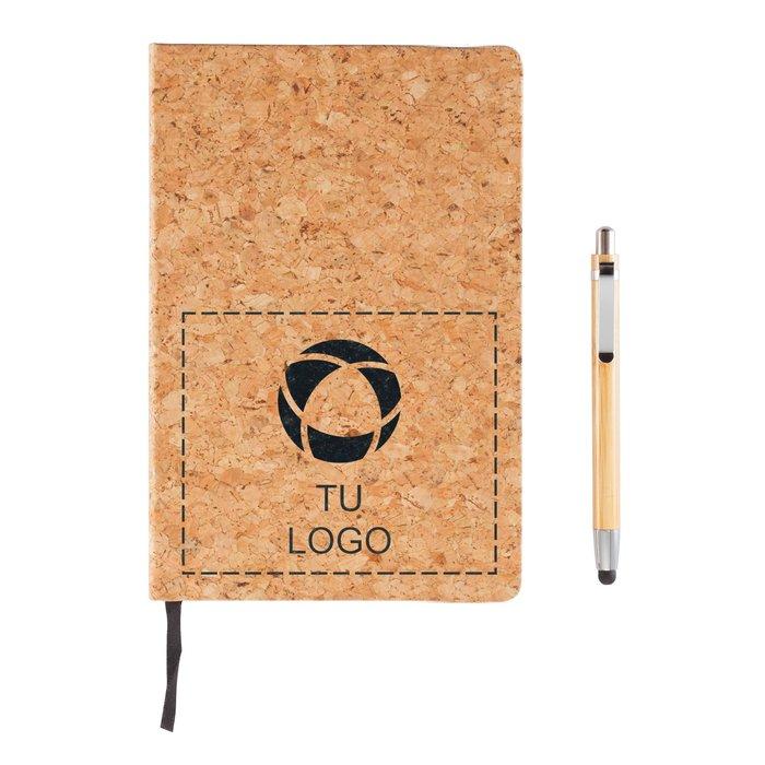 Libreta de tamaño A5 con bolígrafo de bambú y puntero capacitivo