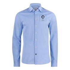 J.Harvest & Frost Indigo Bow 34 herreskjorte med slank pasform enkeltfarvetryk