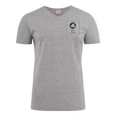 Printer Heavy T-shirt med v-hals