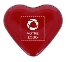 Boîte en fer personnalisée en forme de cœur avec bonbons