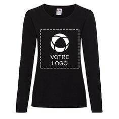 T-shirt femme à manches longues Valueweight de FruitoftheLoom®, impression monochrome intégrale sur le devant et au dos