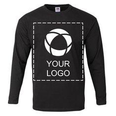 Ensfarvet Fruit of the Loom® langærmet T-shirt med tryk til herrer i 100 % bomuld