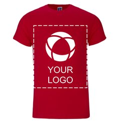 Ensfarvet, kortærmet Russell™ Premium T-shirt i 100 % ringspundet bomuld