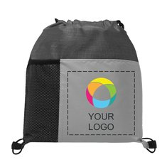 Drawstring Backpack with Bottle Holder and Full-Color Inkjet