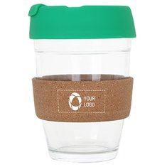 12 OZ Flip Top Glass Coffee Cup with Cork Band