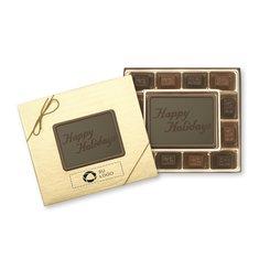 Caja de regalo pequeña Happy Holidays de delicias de chocolate de 12 unidades, paquete de 25Caja de regalo pequeña Happy Holidays de delicias de chocolate de 12 unidades - Paquete de 25