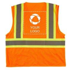 Xtreme Visibility™ Contrast Stripe Orange Zip Vest