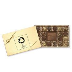 """Caja de obsequio """"Happy Holidays"""" de trufas gourmet, 20 unidades - Paquete de 25 cajas"""