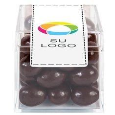 Caja de almendras bañadas en chocolate amargo