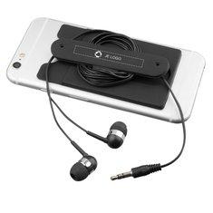 Bullet™ oordopjes met snoer en siliconen telefoonportefeuille