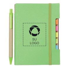 """Libreta reciclada de 4"""" x 6"""" con notas autoadhesivas y bolígrafo"""