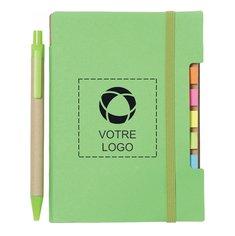 Cahier adhésif recyclé avec stylo, 10,1x 15,24cm(4x 6po)