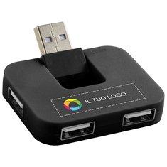 Hub USB a 4 porte Gaia Bullet™ con stampa a colori