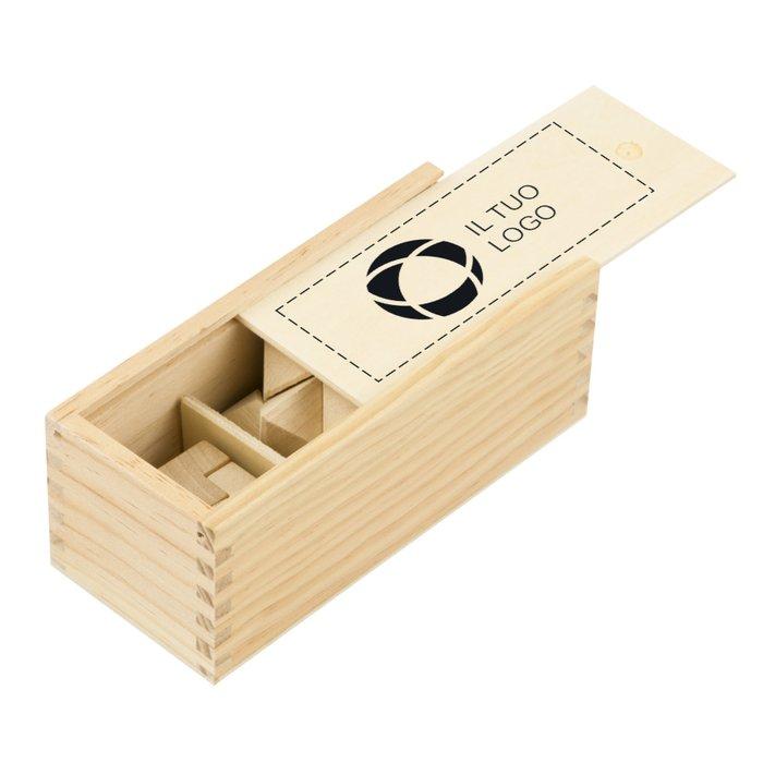 Rompicapo in legno in 3 pezzi
