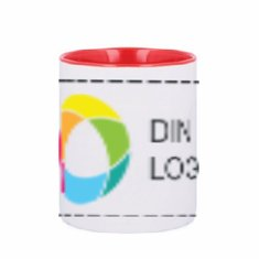 Sublim röd keramikmugg 300 ml med fyrfärgstryck